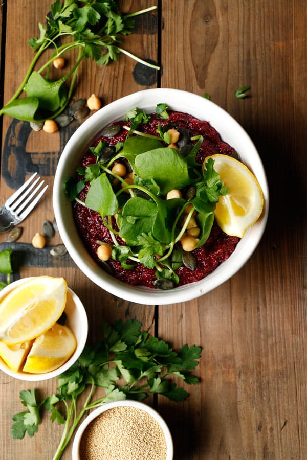 Beetroot Amaranth with Chickpeas and Purslane