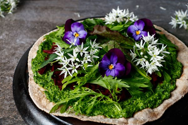 Buckwheat Teff Flatbread Pizza with Wild Garlic Pesto