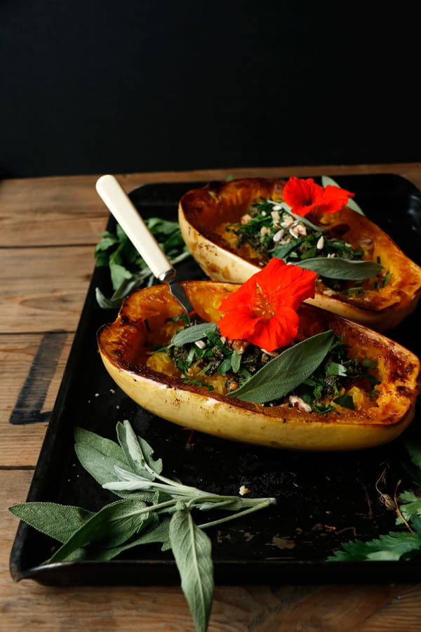 Roasted Spaghetti Squash with Walnut Sage Pesto