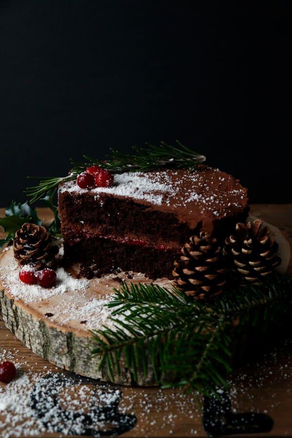 Vegan Chocolate Christmas Cake (gluten-free, nut-free)