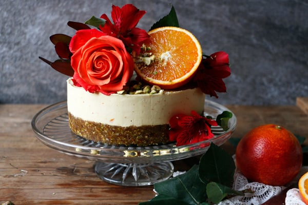 Pistachio Blood Orange Cheesecake (raw, vegan, grain-free)