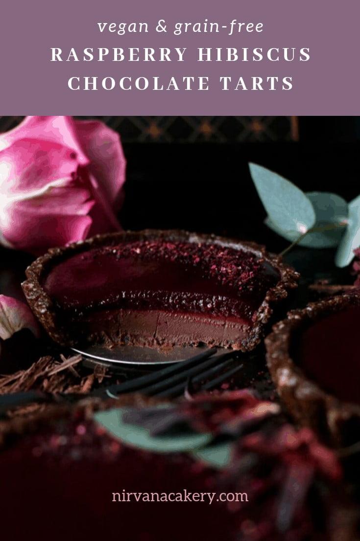 Raspberry Hibiscus Chocolate Tarts (grain-free & vegan)