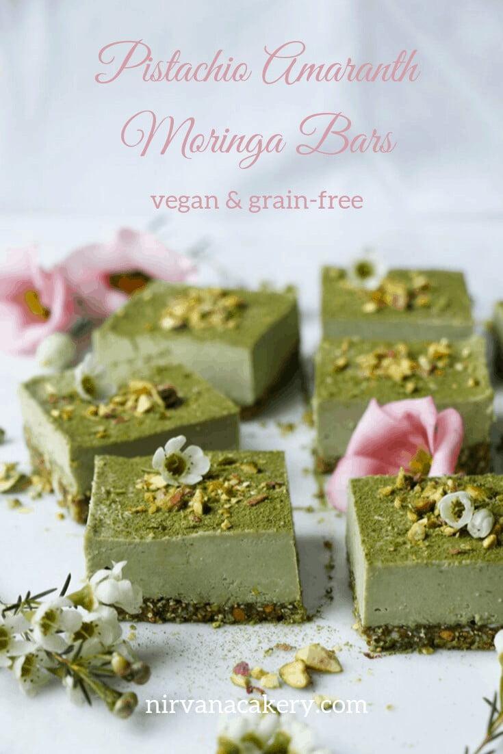 Pistachio Amaranth Moringa Bars (raw, vegan, grain-free)