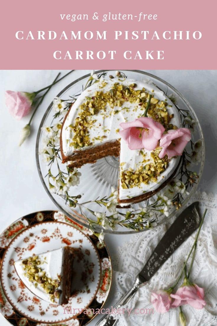 Cardamom Pistachio Carrot Cake (gluten-free & vegan)