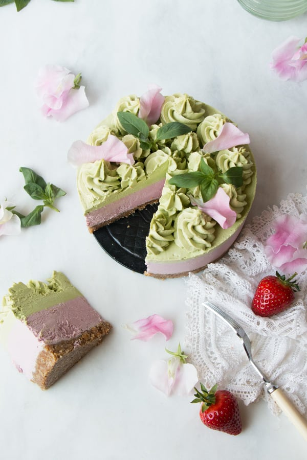 Strawberry Basil Vegan Cheesecake (grain-free)