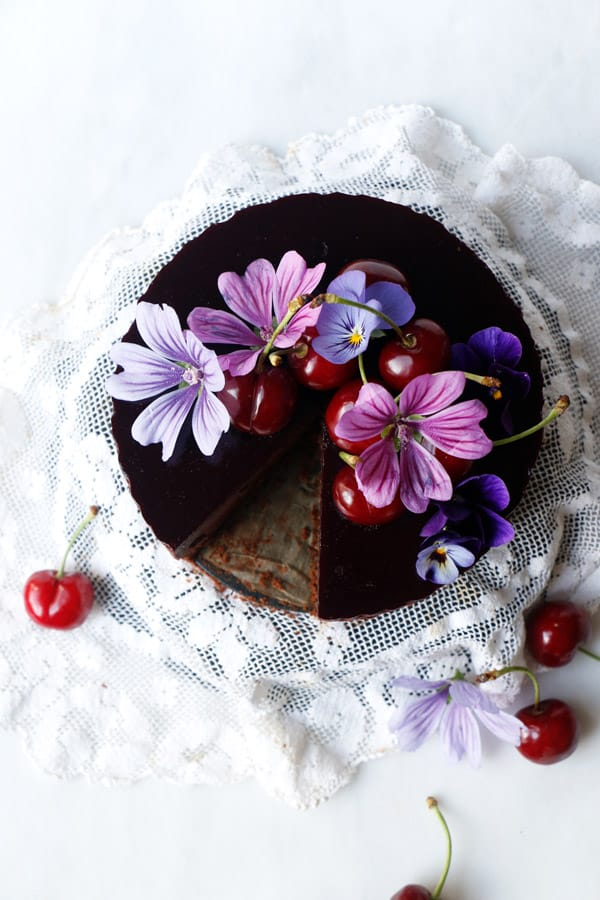 Cherry Chocolate Mousse Cake (vegan & gluten-free)