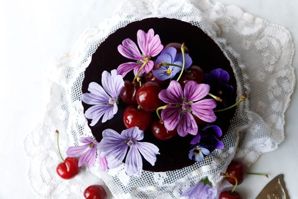 Vegan Cherry Chocolate Mousse Cake (gluten-free, nut-free)