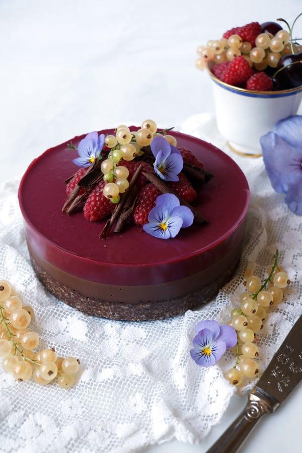 Chocolate Raspberry Bavarois (vegan & grain-free)