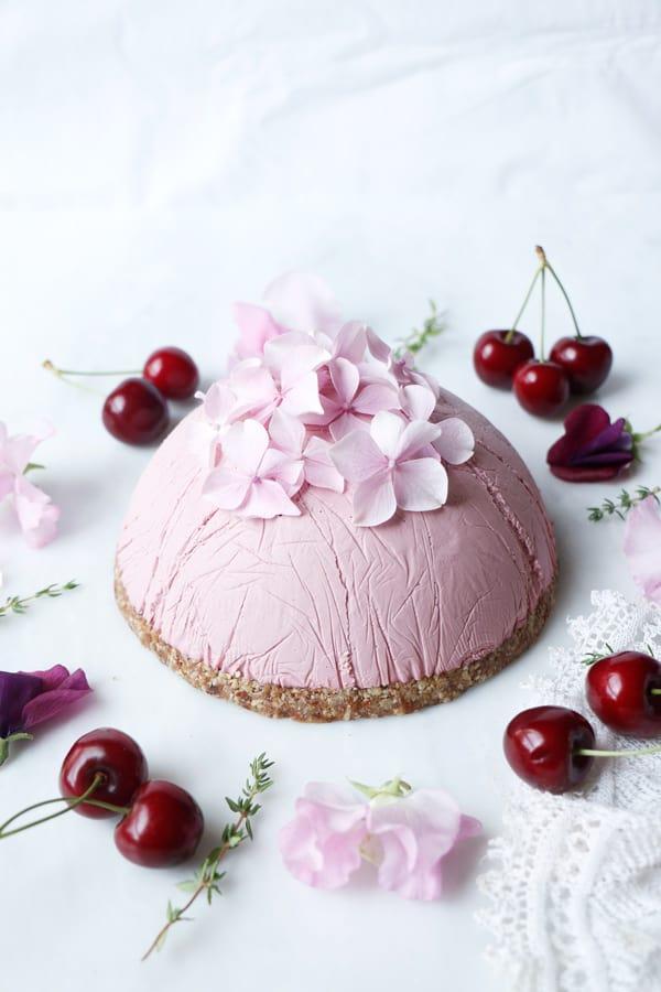 Peach Cherry Cheesecake (raw, vegan, grain-free)