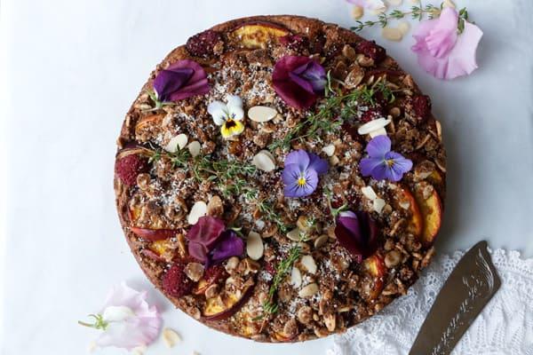 Raspberry Peach Crumb Cake (vegan & gluten-free)