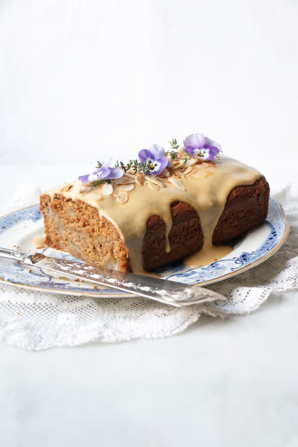 Pear Ginger Cake with Tahini Drizzle (vegan & gluten-free)