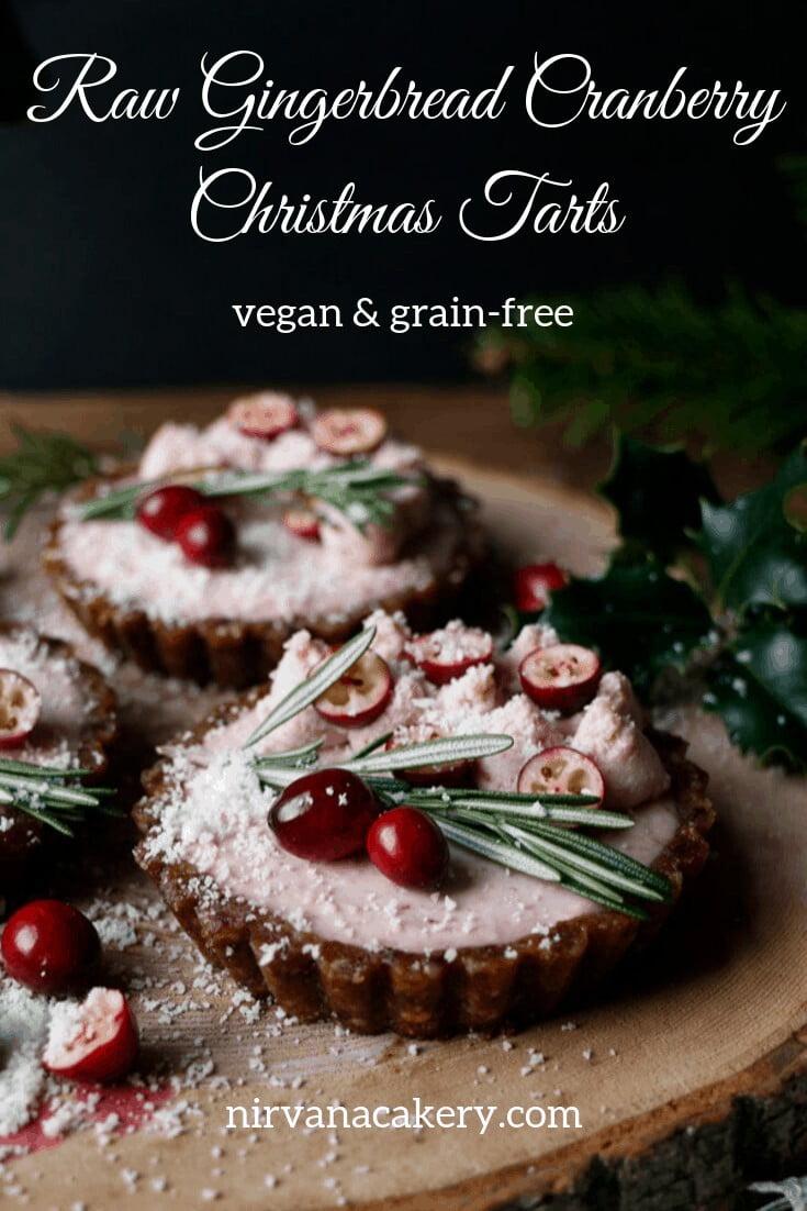 Raw Gingerbread Cranberry Christmas Tarts (grain-free & vegan)