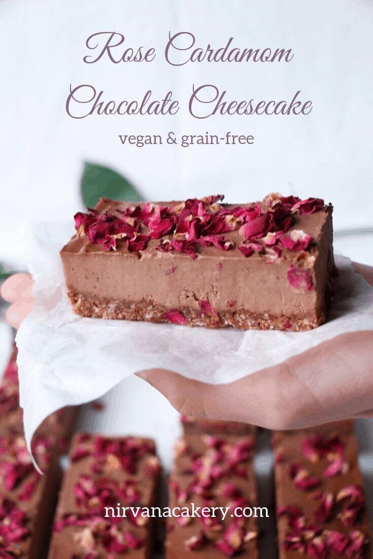 Rose Cardamom Chocolate Cheesecake (vegan & grain-free)