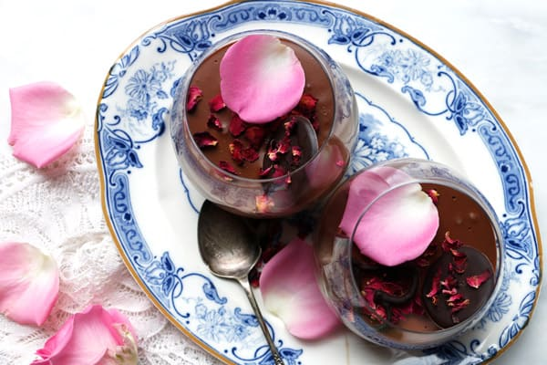 Rose Cardamom Chocolate Mousse (vegan)