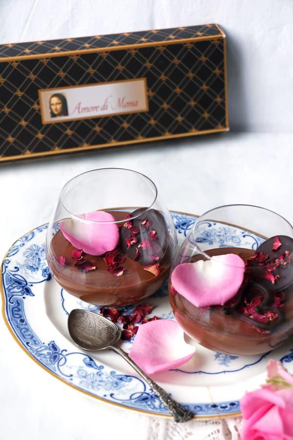Rose Cardamom Chocolate Mousse (vegan)