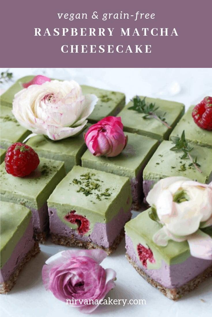 Raspberry Matcha Cheesecake (raw, vegan & grain-free)