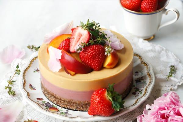 Strawberry Peach Bavarois (vegan & grain-free)