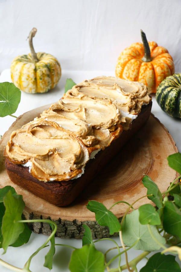 Pumpkin Walnut Bread with Salted Pumpkin Caramel (vegan & gluten-free)