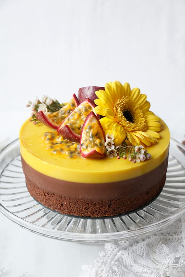 Chocolate Passion Fruit Entremet Cake (vegan & gluten-free)