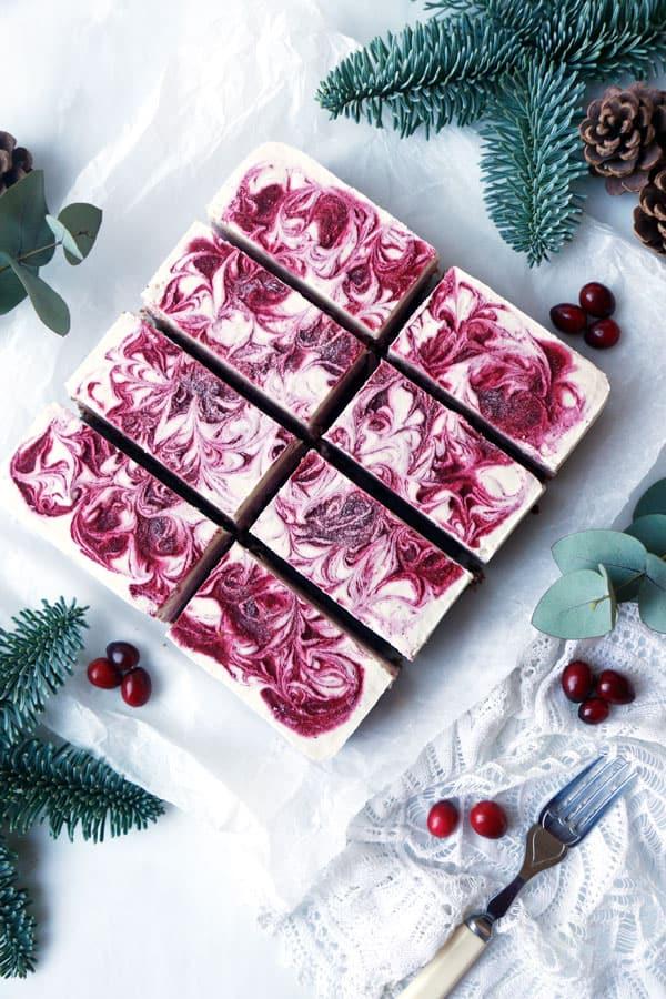 White Chocolate Cranberry Cheesecake (vegan & grain-free)