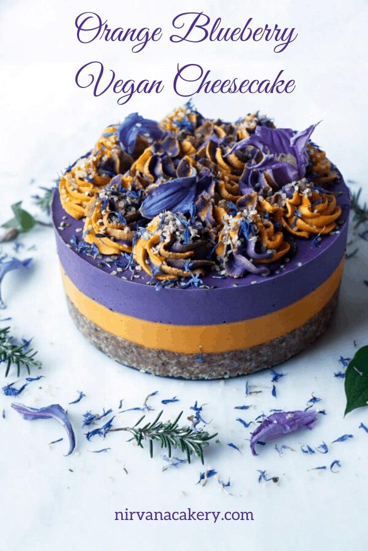 Orange Blueberry Vegan Cheesecake