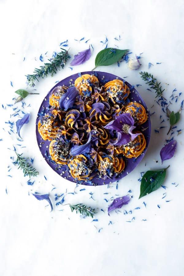 Blood Orange Wild Blueberry Cheesecake (raw, vegan & grain-free)