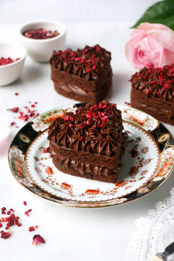 Rose Raspberry Chocolate Heart Cakes (vegan & gluten-free)