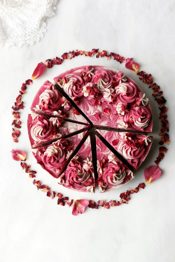 Rose Hibiscus Beet Cheesecake (vegan & grain-free)