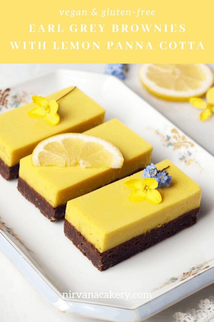 Earl Grey Brownies with Lemon Panna Cotta