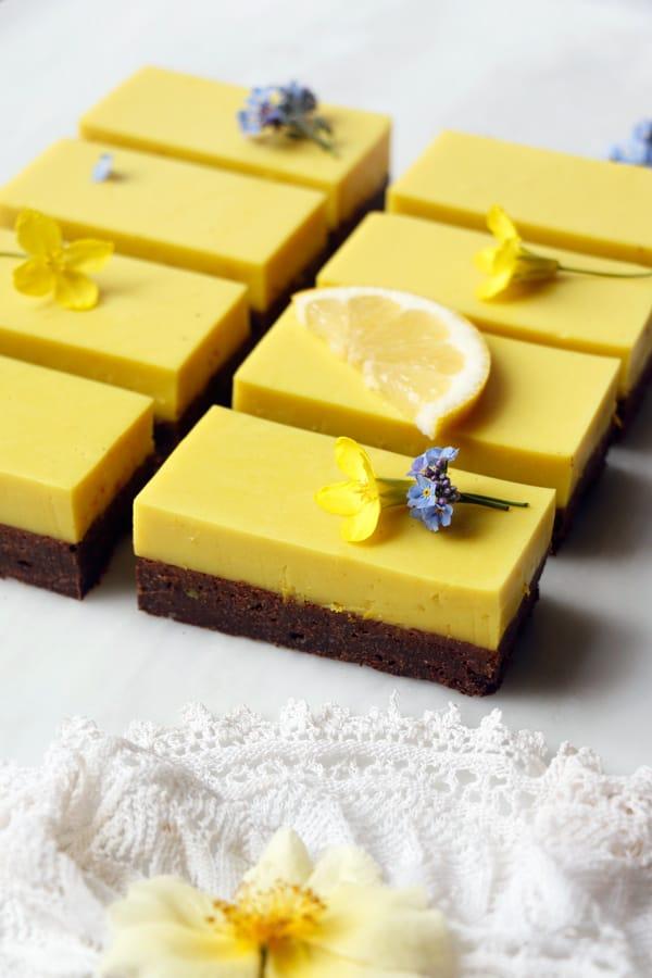 Earl Grey Brownies with Lemon Panna Cotta (vegan & gluten-free)
