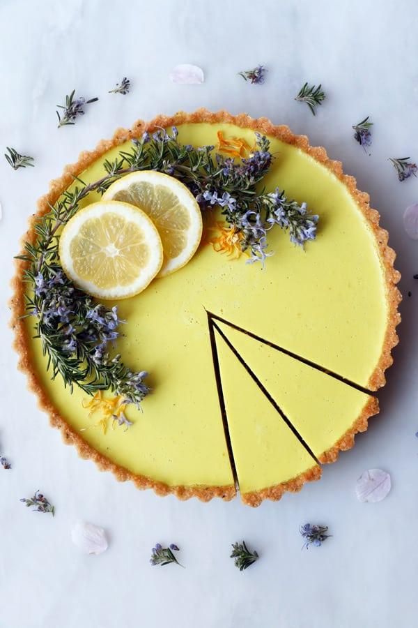 Rosemary Lemon Tart (vegan & gluten-free)