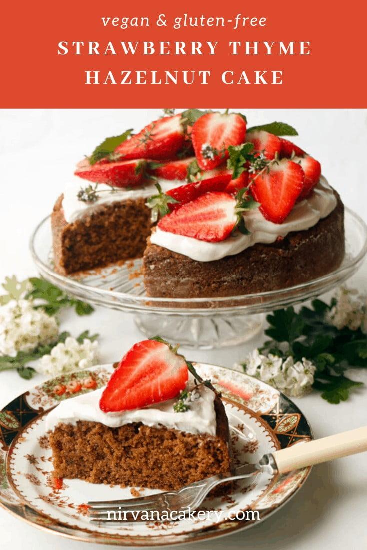 Strawberry Thyme Hazelnut Cake Gluten-free Vegan