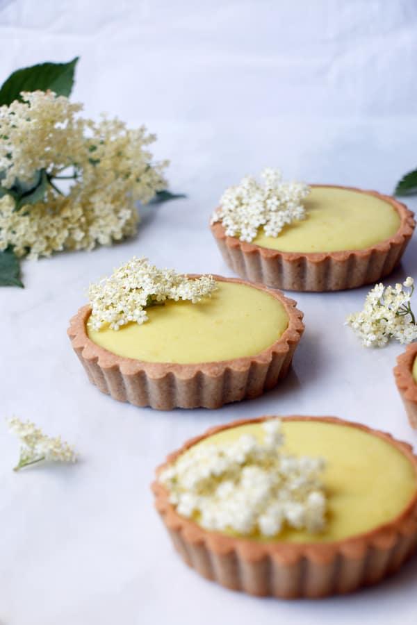 Elderflower Lemon Tarts (vegan & gluten-free)
