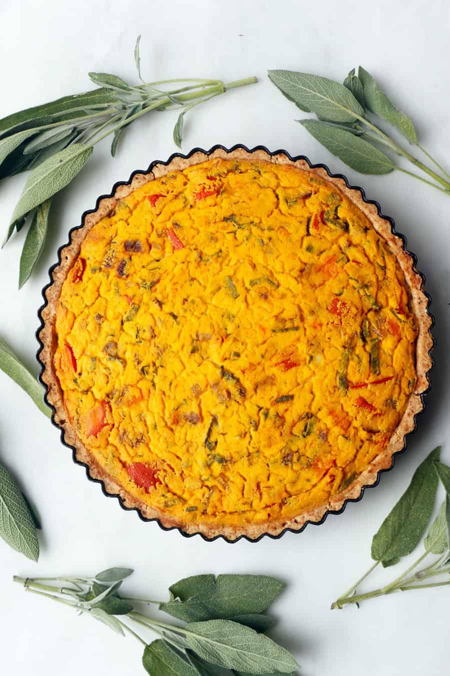 Vegan Pumpkin Sage Quiche (gluten-free)