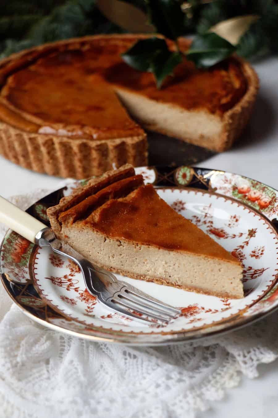 Baked Gingerbread Cheesecake (vegan & gluten-free)