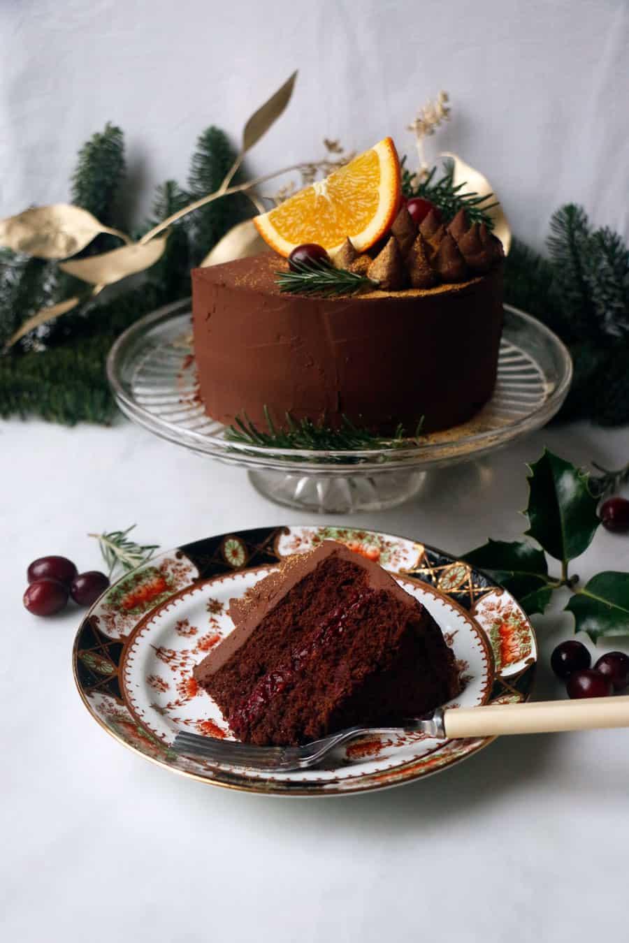 Chocolate Cranberry Orange Cake (vegan & grain-free)