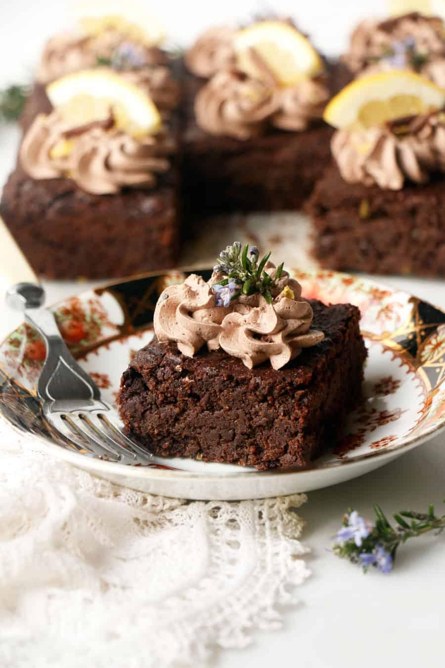Rosemary Lemon Brownies (vegan & grain-free)