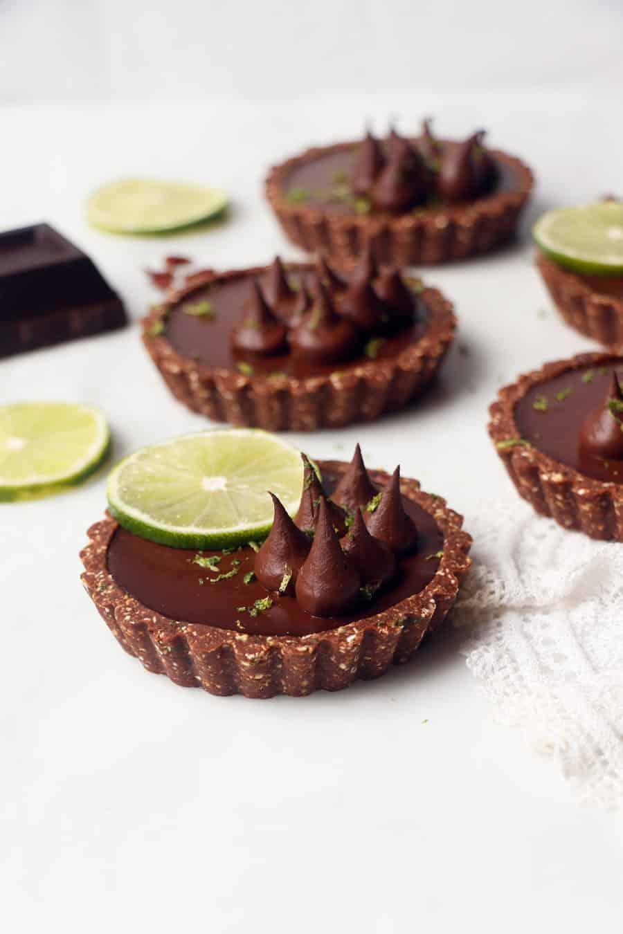 Chilli Lime Chocolate Tarts (vegan & gluten-free)